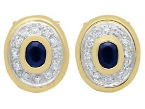 0.68 Ct Sapphire and 0.39 Ct Diamond, 18k Yellow Gold Clip-On Earrings, 1990s