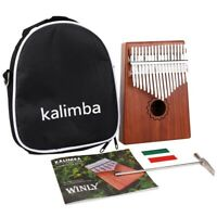 Kalimba Thumb Piano 17 Keys With Mahogany Wooden With Bag, Hammer And Music U1I9