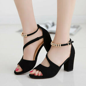 Ladies Fashion Sexy Frosted Thick-Heeled Fish Mouth Roman High Heel Sandals