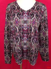 Croft & Barrow Sz L Multi Color Print V-Neckline Long Sleeve Top 100% Cotton