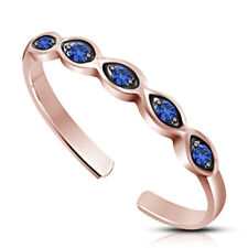 Blue Sapphire 14k Rose Gold Over 925 Sterling Silver Adjustable Band Toe Ring
