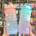 2L Water Bottle Motivational Drink Flask With Time Markings Sports Gym Straw Cup