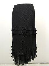 ESCADA Black White Polka Dot Silk Chiffon Tiered Ruffle Skirt D 44 US 12 14