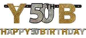 Sparkling Celebration 50th Birthday Letter Banner Fiftieth Party Decorations 7'