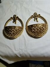 Set Of 2 Homco Home Interior Gold Basket Wall Hanging Plaques