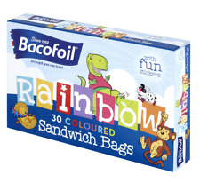 Bacofoil Rainbow 30 Coloured School Picnic Sandwich Bags with fun Stickers