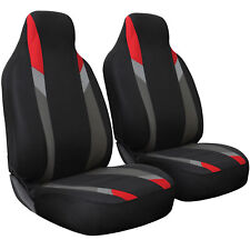Seat Cover Set Front Integrated Bucket for Car Truck SUV - 2pc Red Gray & Black