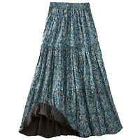 Women's Reversible Broomstick Skirt - Blue Lagoon Paisley Print Reverse to Black