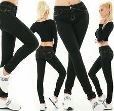 Ladies Push Up High Waist Jeans Slim Fit Pants Stretch Skinny Jeans Black XS-XL