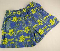 "Surfer's Alliance Shorts Hawaii Blue Yellow Vintage 26"" Waist Elastic Beach Surf"