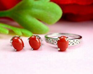 8x6 MM Oval Natural Coral Gemstone 925 Sterling Silver Wedding Ring Earring Set