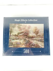 """Magic Effects Collection 500 Piece 13"""" x 19"""" Razzberry Creek Crossing Puzzle NIB"""
