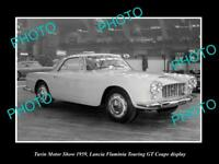 OLD LARGE HISTORIC PHOTO OF TURIN MOTOR SHOW, 1959 LANCIA FLAMINIA GT DISPLAY