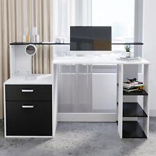 More details for 140cm computer study desk laptop pc table workstation w/ drawer shelves office