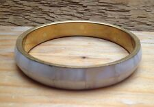 Pretty Mother Of Pearl Shell Inlaid Bangle/White & Brass/Chunky/Vintage Style