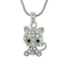 """CAT MADE WITH SWAROVSKI CRYSTAL NEW PENDANT NECKLACE 18"""" CHAIN JEWELRY"""
