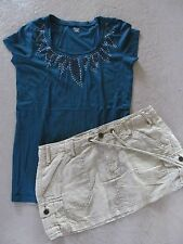 Lot-2 Aeropostale Khaki Linen Skirt S & ana Beaded Shirt Top S Blue/Green