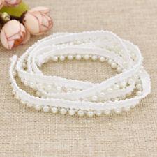 1Yard DIY White Lace Edge Pearl Beaded Trim Birthday Wedding Supply Applique