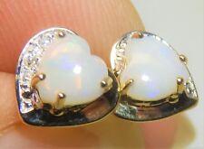 9CT REAL OPAL HEART CABOCHON DIAMOND EARRINGS LADIES STUD 9 CARAT YELLOW GOLD
