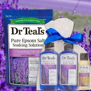 Dr Teal's SOOTHE SLEEP Lavender Epsom Salt Foam Bath Body Wash Oil 4pc Bath Gift