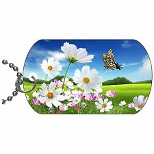 Butterfly On The Flowers Metal Necklace Pendant Dog Tag