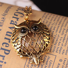 Fashion Antique Gold Chain Cute Owl Magnifying Glass Locket Pendant Necklace New