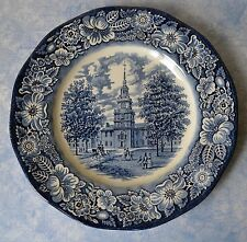 Liberty Blue Plate Independence Hall Staffordshire Ironstone Transferware 10""