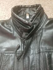 Genuine Leather Men Long Jacket size XL black