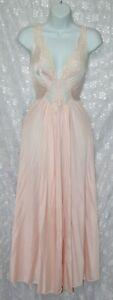 VTG Olga Spandex Peach Nylon Negligee Nightgown L