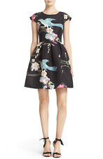TED BAKER Zaldana Flight of the Orient fit & flare skirt dress bird print 1 8 XS