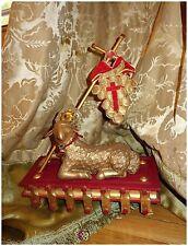 ANTIQUE FRENCH RELIGIOUS AGNUS DEI LAMB PASCHAL FIGURE STATUE