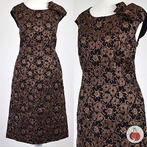 BLACK COPPER FLORAL BROCADE 1960s VINTAGE DRESS 14