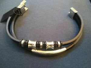2 Strand Stainless Steel Beaded Black PU Leather Bracelet. Be a Rockstar! ~New~