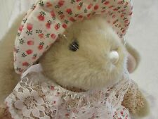 People Pals Tan Bunny Rabbit with Pinafore Dress and Hat EUC