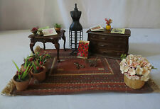 Vtg doll house miniature Queen Anne Table,chest sewing maniquin pots,scottie dog