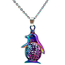 """C125 COLORFUL Penguin Baby Cage Locket Charm Necklace 18"""" Chain"""