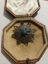 Vintage Antique Sterling Silver 925 Filigree And Turquoise Brooch Pin pendant