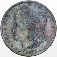1885-O MORGAN SILVER DOLLAR SILVER GEM UNC COLOR GORGEOUS DEEP BLUE TONED (DR)