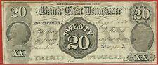 BANK OF EAST TENNESSEE, JONESBORO TENNESSEE 1.1.1855 $20.00