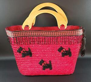Vibrant Red & Black Straw Zippered Purse with SCOTTIES & Wooden Handles