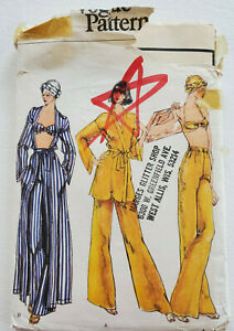 Uncut Vtg 1976 BEACH BRA COVER-UP PANTS SCARF Vogue 9493 CRUISE RESORT Sz 14