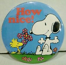"""Peanuts Snoopy & Woodstock """"How Nice"""" Flowers Round Button Pocket Mirror"""