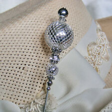 Sexy Hatpin With Silver Lace Beads And Rhinestones On Silver Finish