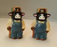 Salt Pepper Shaker Set Farm Cows Denim Overalls Dairy Milk Black White