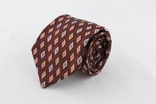 IKE BEHAR Silk Tie. Brown Diamond Floral Design