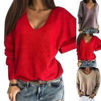Ladies Knitted V Neck Long Sleeve Sweater Plain Pullover Casual Jumper Baggy Top