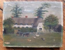Old naif painting - Starlings green, 1911 - Clavering, Saffron Walden, Essex, UK