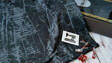 50cm faux black denim graffiti cotton/poly/lycra 4 way stretch knit fabric