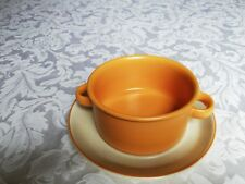 Midwinter Stonehenge Orange lugged soup bowl with stand.