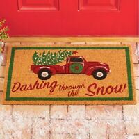 """Vintage Red Truck """"DASHING THROUGH THE SNOW"""" Christmas Coco Door Mat"""